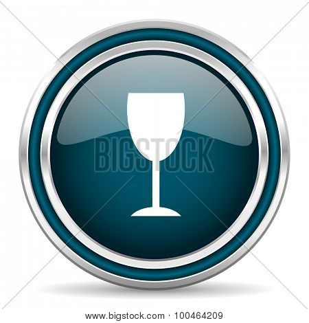alcohol  blue glossy web icon , round, circle, steel, silver, white, background,modern, shiny, glossy,