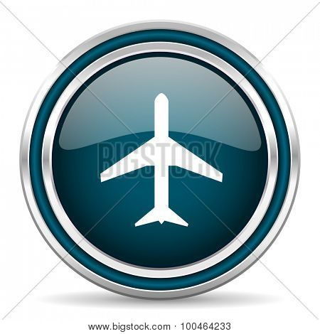 plane blue glossy web icon , round, circle, steel, silver, white, background,modern, shiny, glossy,
