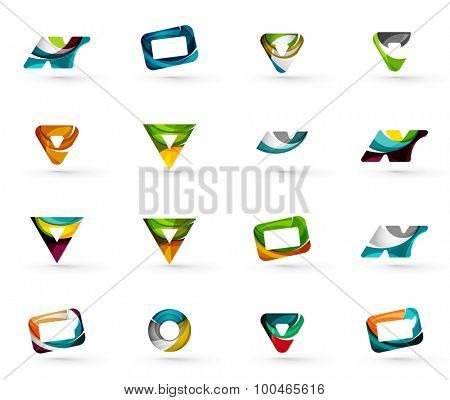 Set of various geometric icons - rectangles triangles squares or circles. Made of swirls and flowing wavy elements. Business, app, web design logo template.