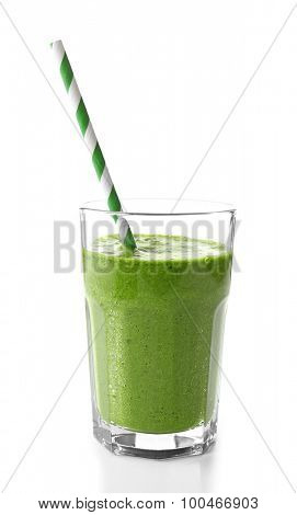 Glass of spinach juice isolated on white