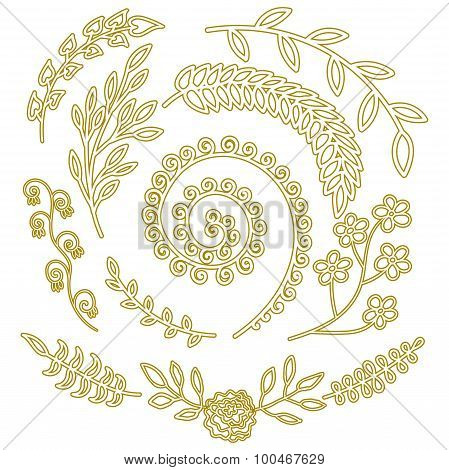 Floral Elements Nature elements pattern for rustic wedding invitation Hand drawn