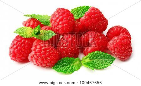 Fresh red raspberries isolated on white