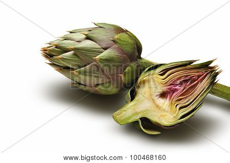 Intact And Half Artichoke