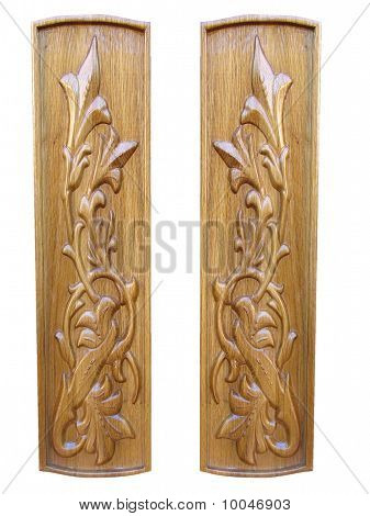 Oak Wooden Floral Pattern Decorative Panels Isolated