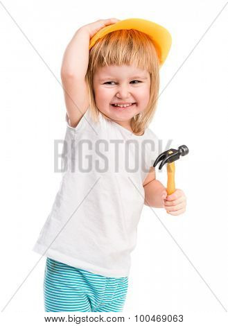 little girl with helmet playing instruments isolated on white background
