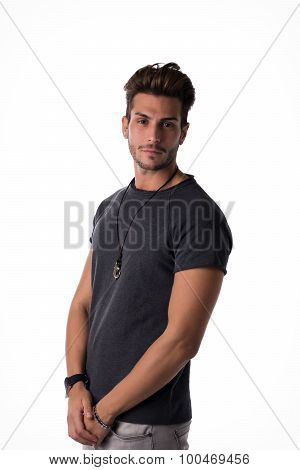 Fit handsome young man confident in casual clothes isolated