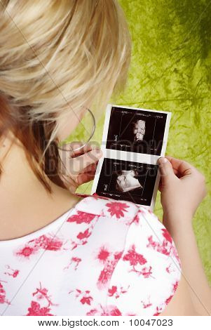 Pregnant Woman With A Ultrasound Image