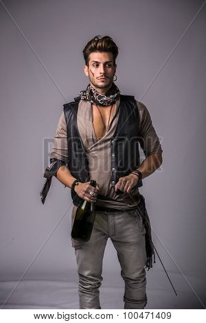 Good Looking Young Man in Pirate Fashion Outfi