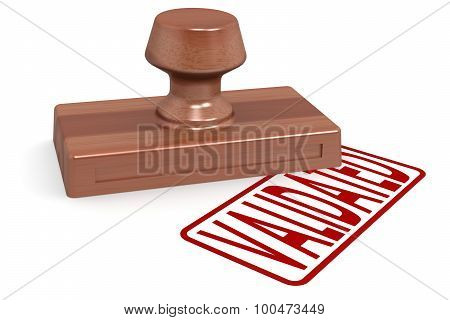 Wooden Stamp Validated With Red Text