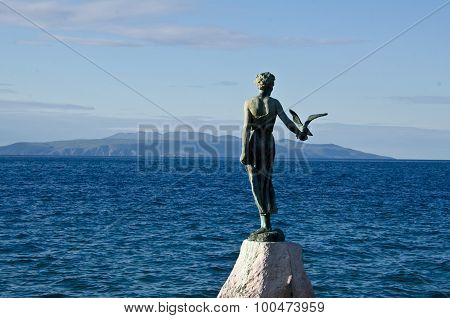 The statue of the Maiden with the Seagull located on the Adriatic Sea, Opatija, Croatia