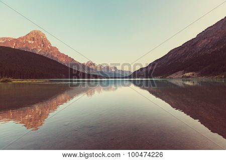 Serenity lake in Canada. Instagram filter.