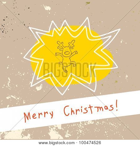 Christmas reindeer, merry christmas greeting card. Doodle style vector illustration.