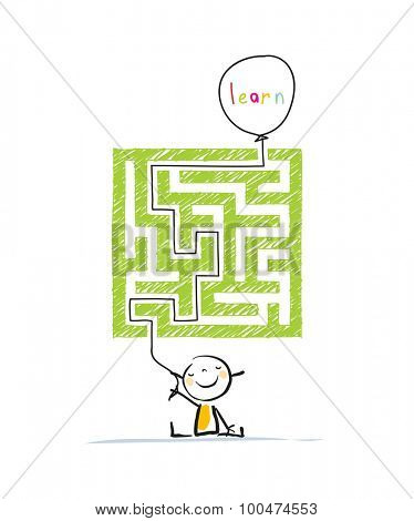 Educational learning for kids conceptual vector illustration, with labyrinth, maze. Doodle style hand drawn illustration.