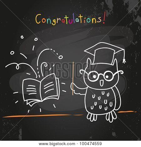Education owl, chalk on blackboard drawing. Doodle style vector illustration.