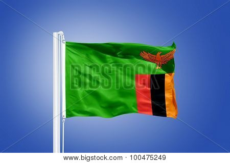 Flag of Zambia flying against a blue sky.