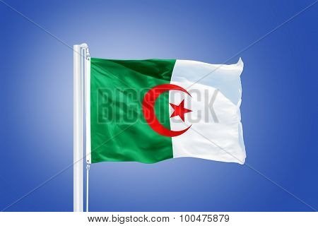 Flag of Algeria flying against a blue sky.