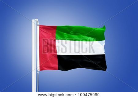 Flag of United Arab Emirates flying against a blue sky.