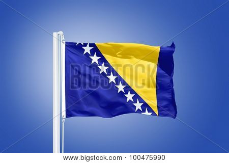 Flag of Bosnia and Herzegovina flying against a blue sky.