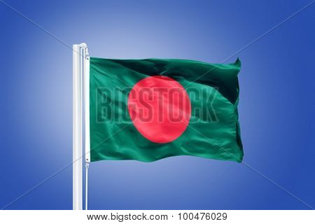 Flag of Bangladesh flying against a blue sky.
