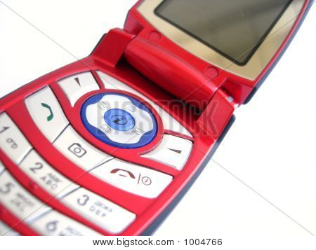 Red Mobile Phone Over A White Background