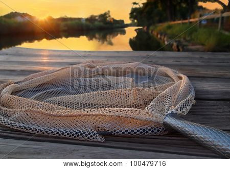 Crab Net On Dock