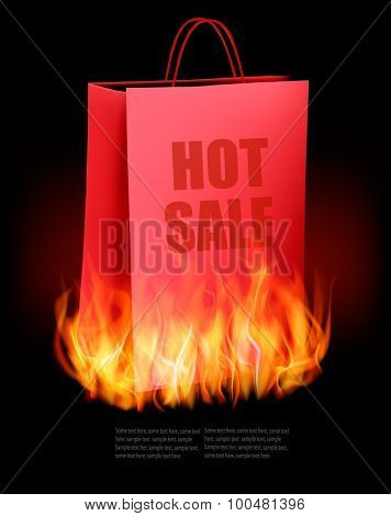 Hot sale background with shopping bag and fire. Vector.