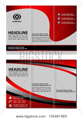 Red Tri fold brochure template