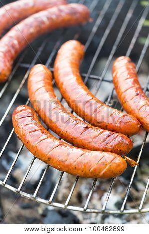 Tasty Polish Sausage On Grill