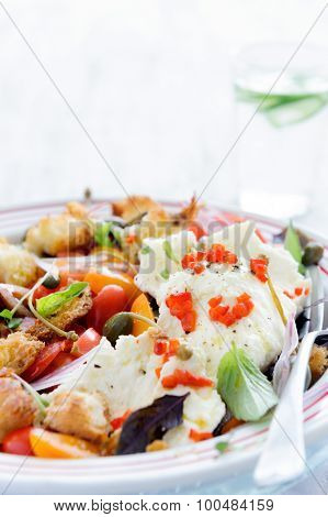 Mix salad with baby cherry tomatoes, onion, micro greens and fresh mozzarella cheese