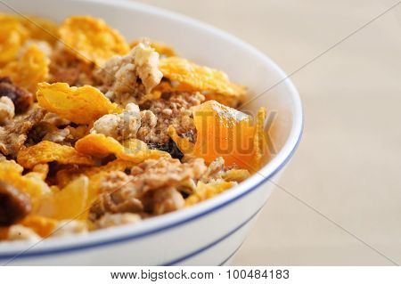 Nutritrious wholesome muesli in a bowl