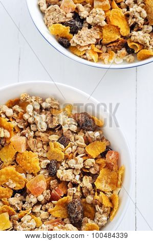 Two bowls of nutritious cereal