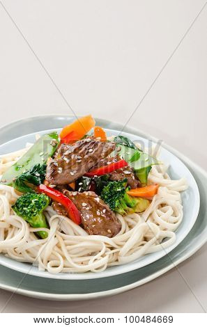 Beef stir fry with vegetables and noodles