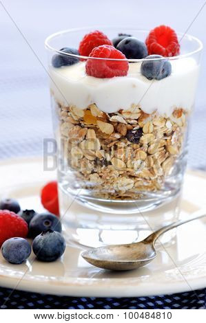 Delicious oats with yoghurt, raspberry and blueberries