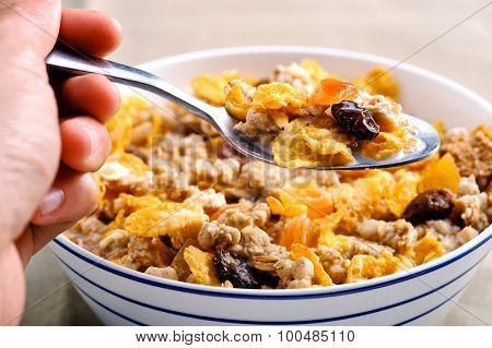 Hand holding a spoon filled with wholesome muesli and dried fruit