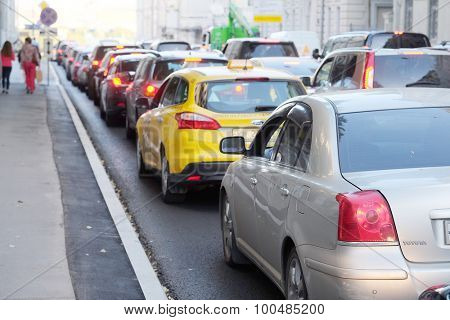 Moscow, Russia, August, 25, 2015: Cars stands in traffic jam in the center of Moscow, Russia