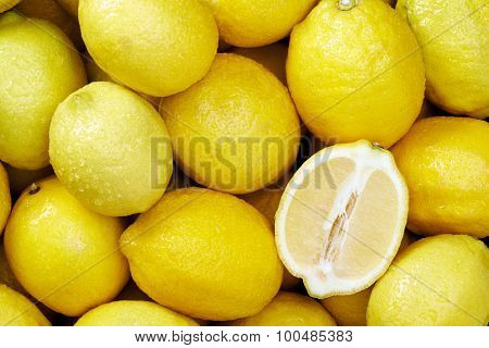 Lemon citrus Raw fruit and vegetable backgrounds overhead perspective, part of a set collection of healthy organic fresh produce
