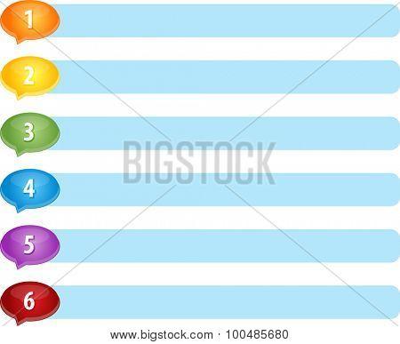 Blank business strategy concept infographic diagram illustration Speech List Six