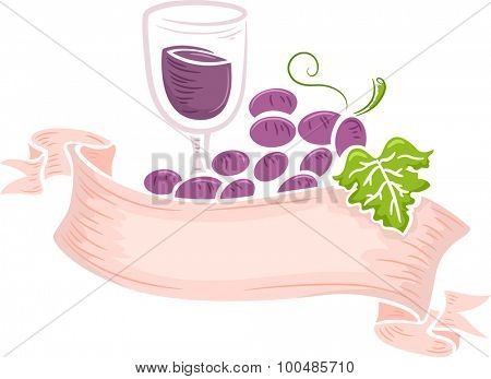 Illustration of a Glass of Wine Wrapped Together with a Bunch of Grapes