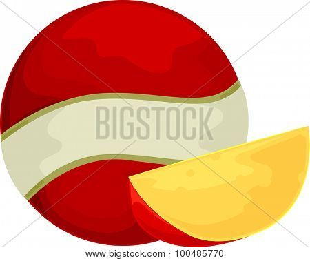 Illustration of a Ball of Edam Cheese with a Slice Sitting Beside It