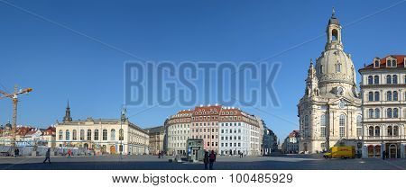 Panorama Of Neumarkt Square In Dresden Historical Center, Saxony, Germany.