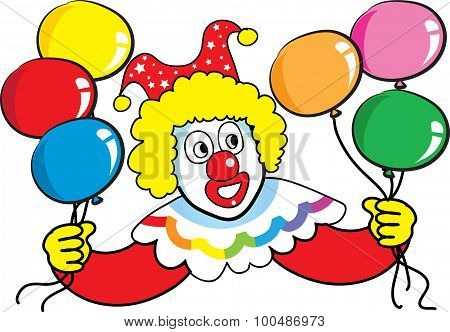 clown with party balloon