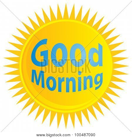 An image of a sunrise with good morning text.
