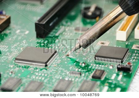 Soldering Iron And Circuit Board