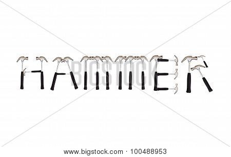 Hammer Text Made By Hammer On White Background