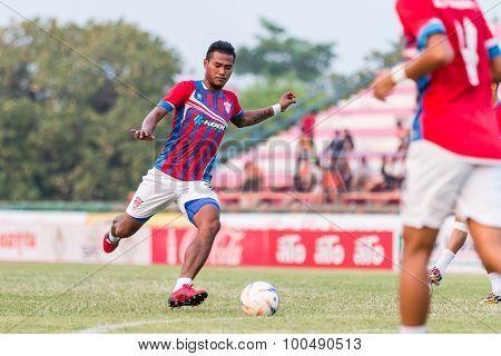 Sisaket Thailand-march 7: Yuththachai Liamkrai Of Saraburi Fc. Shooting Ball During A Training Ahead