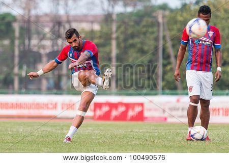 Sisaket Thailand-march 7: Douglas Gardozo Of Saraburi Fc. Shooting Ball During A Training Ahead Thai