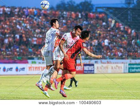 Sisaket Thailand-march 7: Players Of Saraburi Fc (white) Head The Ball During Thai Premier League Be
