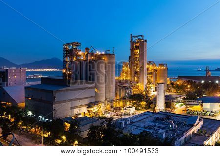 Cement factory during sunset
