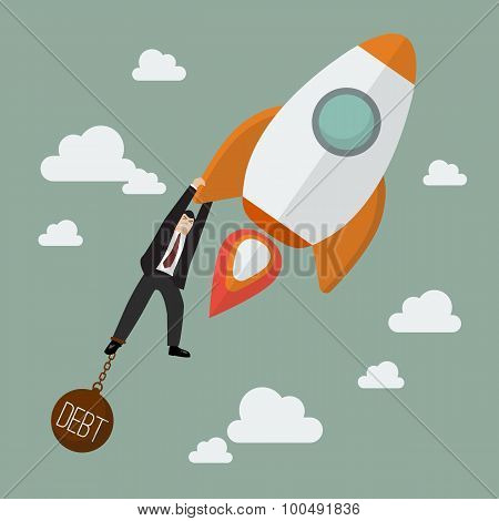 Businessman Try Hard To Hold On A Rocket With Debt Burden