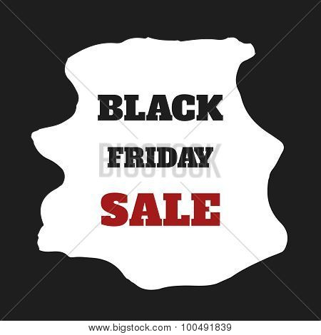Black Friday Sale. Vector Illustration. Clearance. Simple Ad At Watercolor Frame.